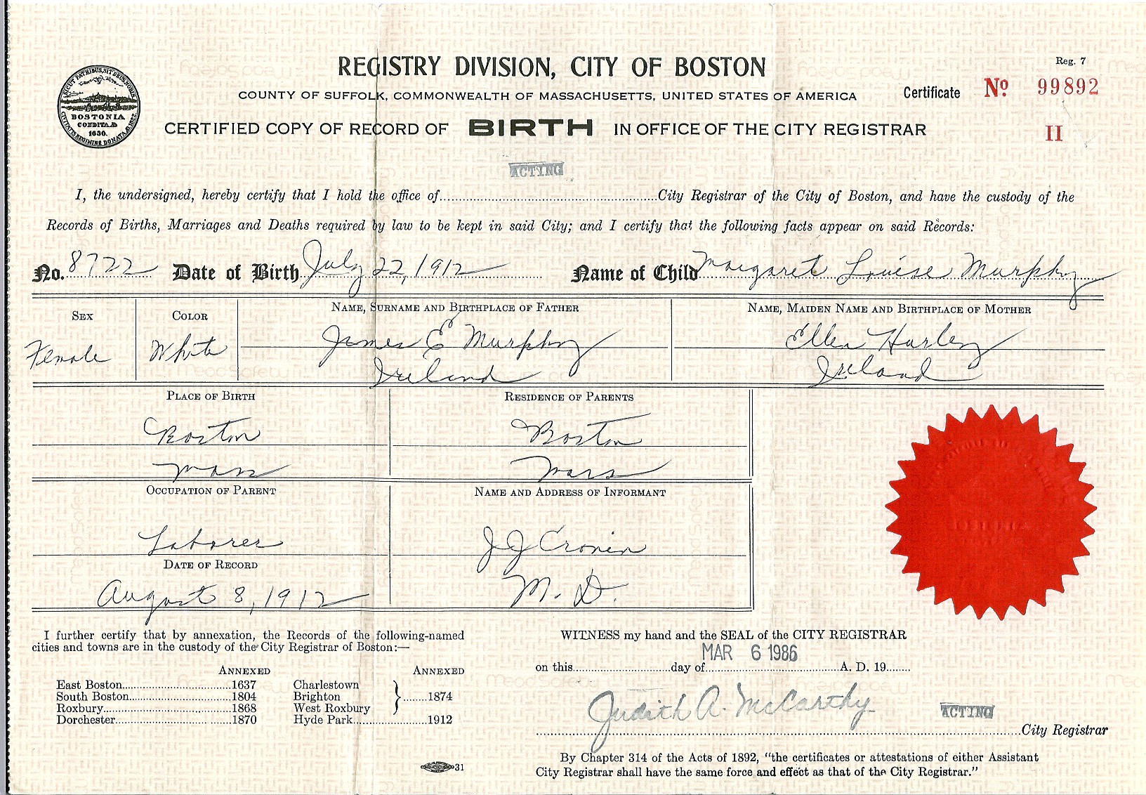 Birth Certificate - Margaret Murphy